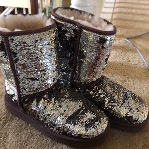 Cheetah/Silver Sequin Ugg Boots